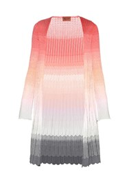 Missoni Long Sleeved Degrade Knit Cardigan Pink Multi