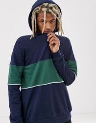 Your Turn Yourturn Colour Block Hoodie In Navy And Green With Half Zip