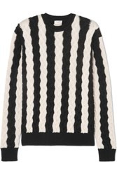 Saint Laurent Striped Cable Knit Wool Sweater Black