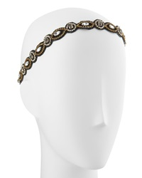 Deepa Gurnani Embellished Circle Marquis Headwrap Black Gold