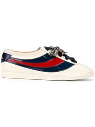 Gucci Falacer Sneakers Leather Polyester Brass Glass White