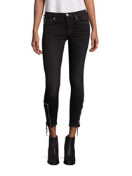 True Religion Halle Ankle Skinny Lace Up Cropped Jeans Djcb Black Sky