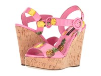 Dolce And Gabbana Patent Pineapple Print Cork Wedge 90Mm Pink