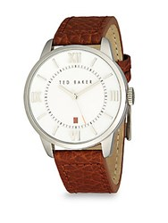Ted Baker Stainless Steel And Leather Analog Watch Silver