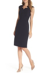Tahari Star Neckline Crepe Sheath Dress Dark Navy