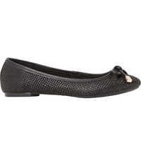 Dune Hero Reptile Embossed Ballerina Pumps Black Reptile