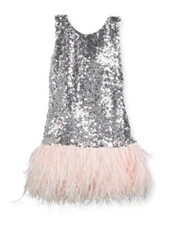 Zoe Cece Sequin Dress W Feather Hem Gray Pink