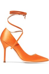 Vetements Manolo Blahnik Satin Pumps Bright Orange