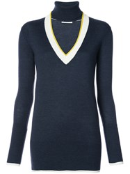 Tome Open V Neck Knitted Top Women Wool L Blue