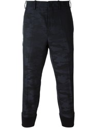 Neil Barrett Cropped Camouflage Trousers Blue
