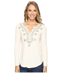 Lucky Brand Embellished Bib Top Natural Women's Clothing Beige