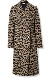 By Malene Birger Belloa Double Breasted Animal Print Wool Blend Coat Brown