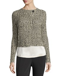 Brunello Cucinelli Long Sleeve One Button Cropped Sweater Black Cream Men's Size Xxx Small Blkcrm