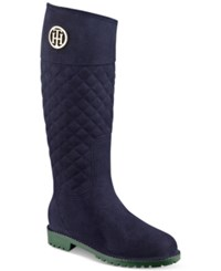 Tommy Hilfiger Babette Quilted Rain Boots Women's Shoes Navy