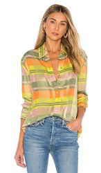Grlfrnd Dion Button Down Blouse In Green. Green Plaid