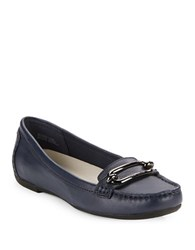 Anne Klein Noris Leather Loafers Navy Blue
