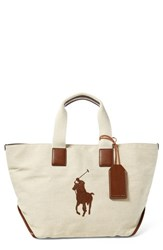 Polo Ralph Lauren Canvas Market Tote Beige Ecru Canvas With Cuoio