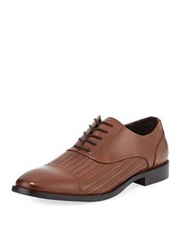 Kenneth Cole Ticket Home Woven Leather Oxford Brown