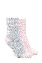 Forever 21 Striped Fuzzy Sock Set 2 Pack Grey Pink