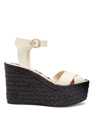 Valentino Nuevitas Cross Strap Leather Wedge Sandals Black White