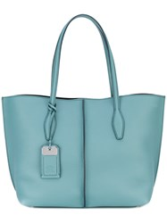 Tod's Oversized Tote Women Leather One Size Blue