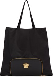 Versace Black Convertible Nylon Tote