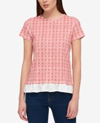 Tommy Hilfiger Cotton Layered Look Bow Back Top Dusty Coral Multi