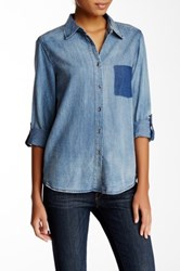 Blvd Chambray Long Sleeve Blouse Blue