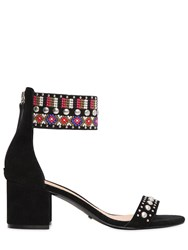Schutz 60Mm Embroidery And Studs Suede Sandals