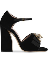Gucci Velvet Sandals With Bee Black