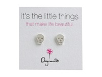 Dogeared It's The Little Things Earrings Skull Silver Earring