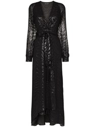 Haney Coco Belted Silk And Lurex Gown Black