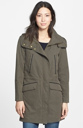 Soia And Kyo Leather Trim Anorak With Detachable Hood And Lining Military
