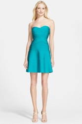 Herve Leger Strapless Fit And Flare Bandage Dress Blue