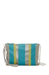 Whiting And Davis Stripe Convertible Wristlet Crossbody Metallic