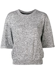 Dkny Short Sleeve Flared Top Grey