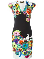 Roberto Cavalli Flower Print Fitted Dress White