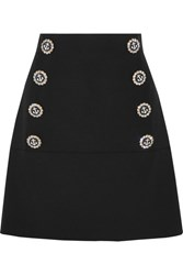 Dolce And Gabbana Embellished Wool Blend Mini Skirt Black