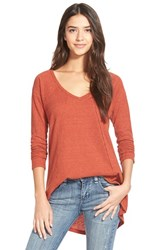 Junior Women's Sun And Shadow V Neck Thermal Swing Top Red Ochre