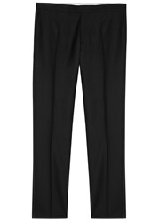 Oscar Jacobson Devon Black Wool Tuxedo Trousers