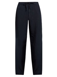120 Lino Drawstring Straight Leg Linen Trousers Navy
