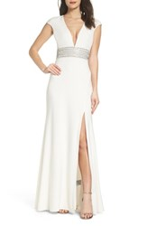 Xscape Evenings 'S Beaded Waist Gown Ivory