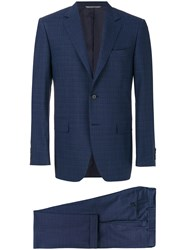 Canali Checkered Print Two Piece Suit Wool Cupro Blue