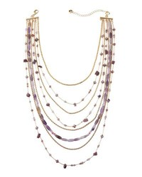 Lydell Nyc Mixed Chain And Bead Layered Necklace Purple