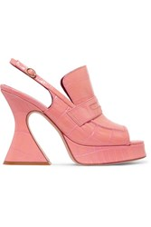 Sies Marjan Ellie Croc Effect Leather Platform Slingback Sandals Pink
