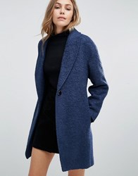 Closet London Slouchy Wool Coat Navy Blue
