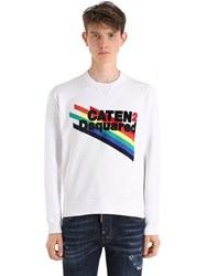 Dsquared Caten2 Printed Cotton Jersey Sweatshirt White