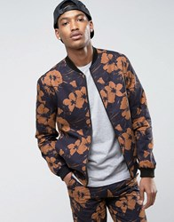 New Look Smart Bomber With Floral Print In Black Black Pattern