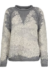 Brunello Cucinelli Cable Knit Cotton Blend Sweater Gray