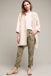 Anthropologie Paloma Embroidered Kimono Jacket Neutral Motif